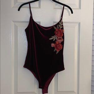 Velvet embroidered bodysuit